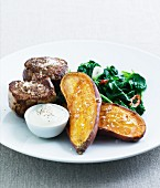 Beef fillet with sweet potatoes and spinach