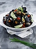 Steamed mussels with chilli, ginger and basil