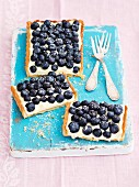 Shortbread tart with mascarpone, white chocolate cream and blueberries