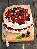 Pavlova with raspberries and blackberries
