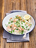 Risotto with smoked salmon, peas and mascarpone