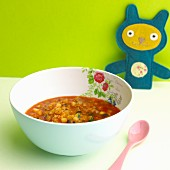 Courgette and aubergine soup with bulgur
