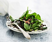 Lentil salad with baby spinach