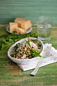 Barley risotto with dandelion leaves