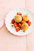 Quark dumplings with strawberries