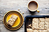 Homemade flapjacks with tea