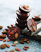 Chocolate pralines with goji berries and almonds