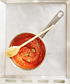 Tomato sauce in a pan (seen from above)