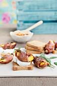 Peach and sage ham rolls with chilli cream