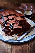 Chocolate cake and honey