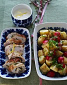 Chicken roulade with a potato and radish salad for Mother's Day