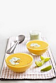 Spicy coconut and butternut squash soup with coriander yoghurt