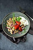 Warm white bean salad with chillis, red onions and mozzarella