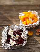 Beetroot and pumpkin parcels with cheese for an autumnal picnic