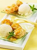 Sponge cake with apple sauce and vanilla ice cream