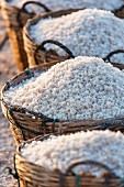 Baskets of harvested salt in the Loei province (North-East Thailand)