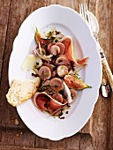 Italian potato salad with Parma ham and figs