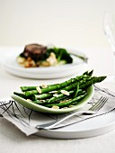Green asparagus and beans with slivered almonds