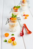 Goat's cheese panna cotta with tomato and basil