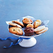 Cookies, scones and muffins on a cake stand