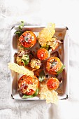 Stuffed tomatoes with Parmesan wafers