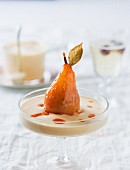A watermelon-poached pear on sabayon
