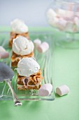 Marshmallow caramel topped with meringue