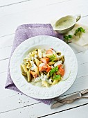 Penne with smoked salmon and a creamy sauce