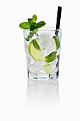 Vodka tonic with lime, mint and ice cubes