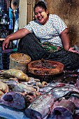 A woman selling fish and poultry at markets (Rangoon, Myanmar)