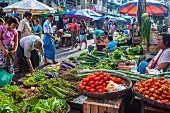 A vegetable stand at a street market in Rangoon, Myanmar