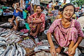 Fish sellers at street market in Rangoon, Myanmar