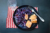 Salmon fillet with red cabbage and cranberries