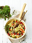 Tagliatelle with Mediterranean vegetables and herbs