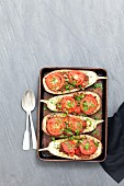 Stuffed aubergines filled with minced meat and tomatoes
