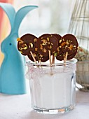 Chocolate lollies with nuts for Easter