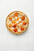 A whole apricot pie with slivered almonds in a baking tin