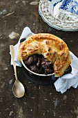 Duck pot pie with black cherries
