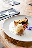 Rhubarb cake with vanilla ice cream and honeycomb