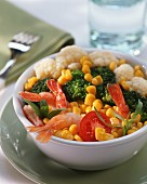 Vegetable salad with sweetcorn and prawns