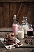 Chocolate and almond cookies with milkshakes