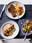 ADHD food: an escalope with a spelt flake coating and chicken with vegetable salad