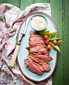 Marinated leg of lamb with aioli