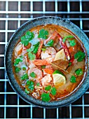 Spicy-sour soup with prawns