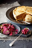Meat pie with beetroot compote