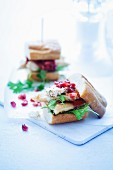 Chickens and goats cheese sliders with a pomegranate and grapefruit sauce