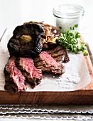 Hanger steak with wild mushrooms