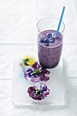 Blueberry drink made with banana and yoghurt
