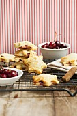 Shortbread stars filled with cherries and blue cheese