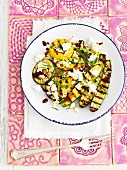 Grilled courgettes with feta, mint and balsamic vinegar